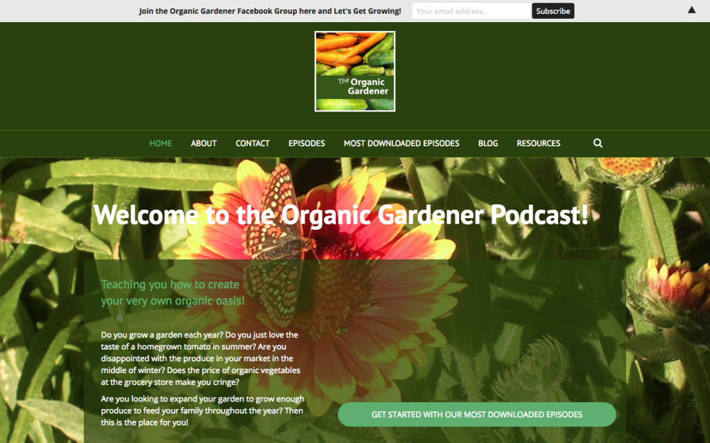 Podcast WordPress theme - http://organicgardenerpodcast.com/