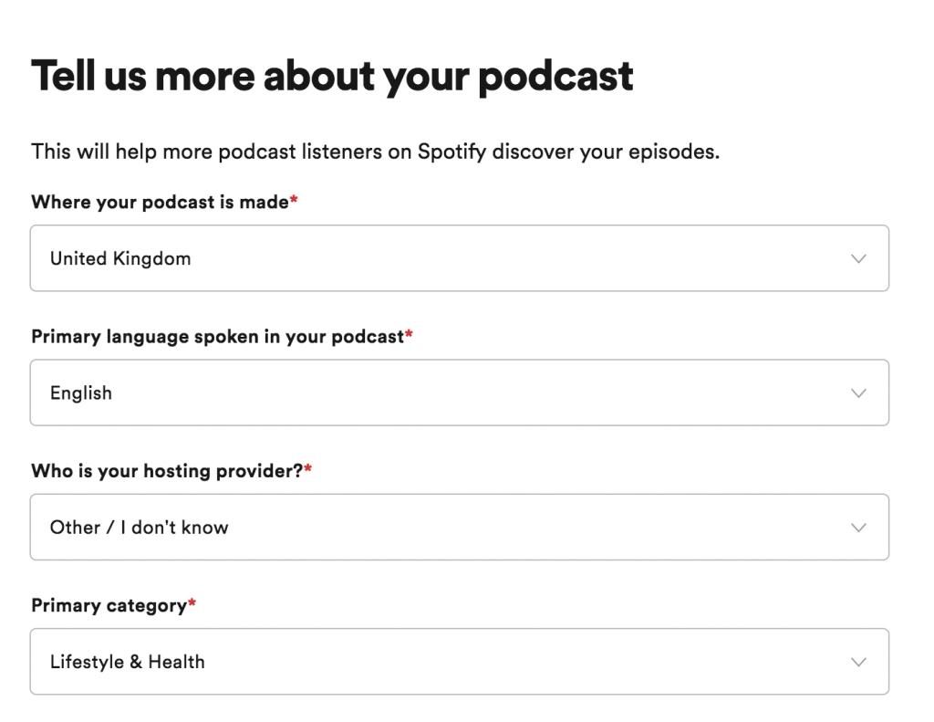 Enter your podcast's details