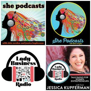 examples of my podcast cover design before and after